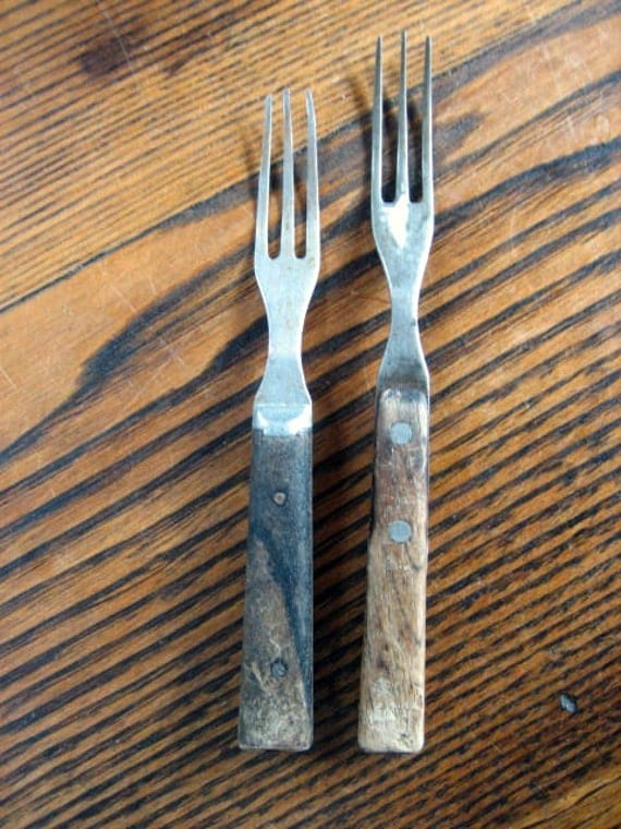 Two Maine 3 Prong Cooking Fork Steel w Wooden Handle Black Fork or Granny Fork Kitchen Tool