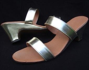 UK 5 Vintage 60's gold sandals wedge mules block heels EU 38 US 7
