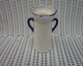 Vintage Czechoslovakian - Luster ware Handled Bud Vase  blue and opal