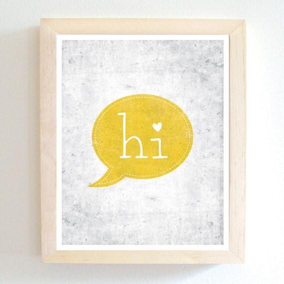 Hi - Art Print - Lemon Yellow - 8X10 - Modern - Cute Heart - Home Decor - Under 25