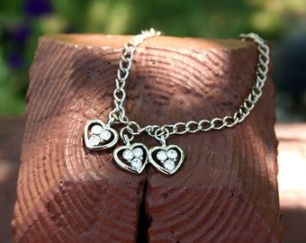 Bracelet Heart Silver and Diamond Charm