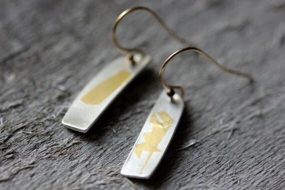 Gold & Silver Drop Earrings, Keum Boo, Unique Mixed Metals, OOAK Gift
