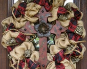 """30"""" Natural Jute BURLAP Wreath with RED CROSS and Silk Plaid Ribbon"""