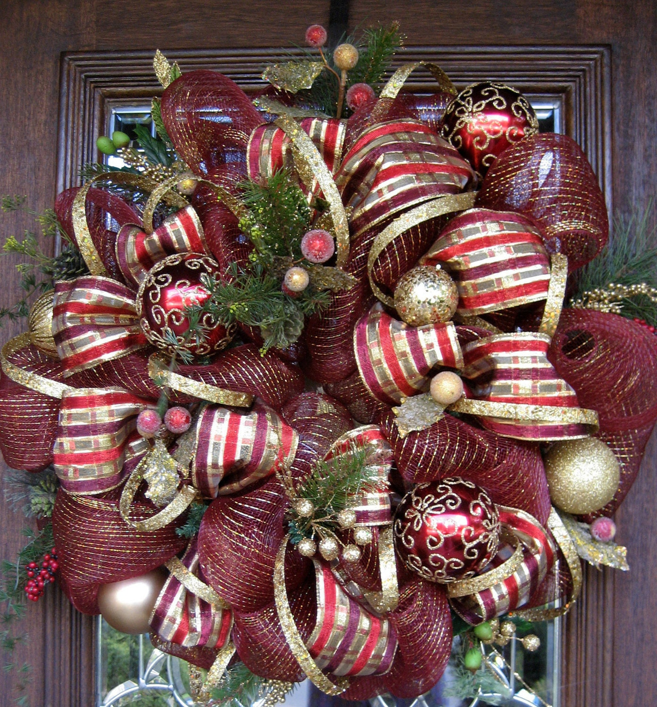 Deco mesh burgundy and gold christmas wreath