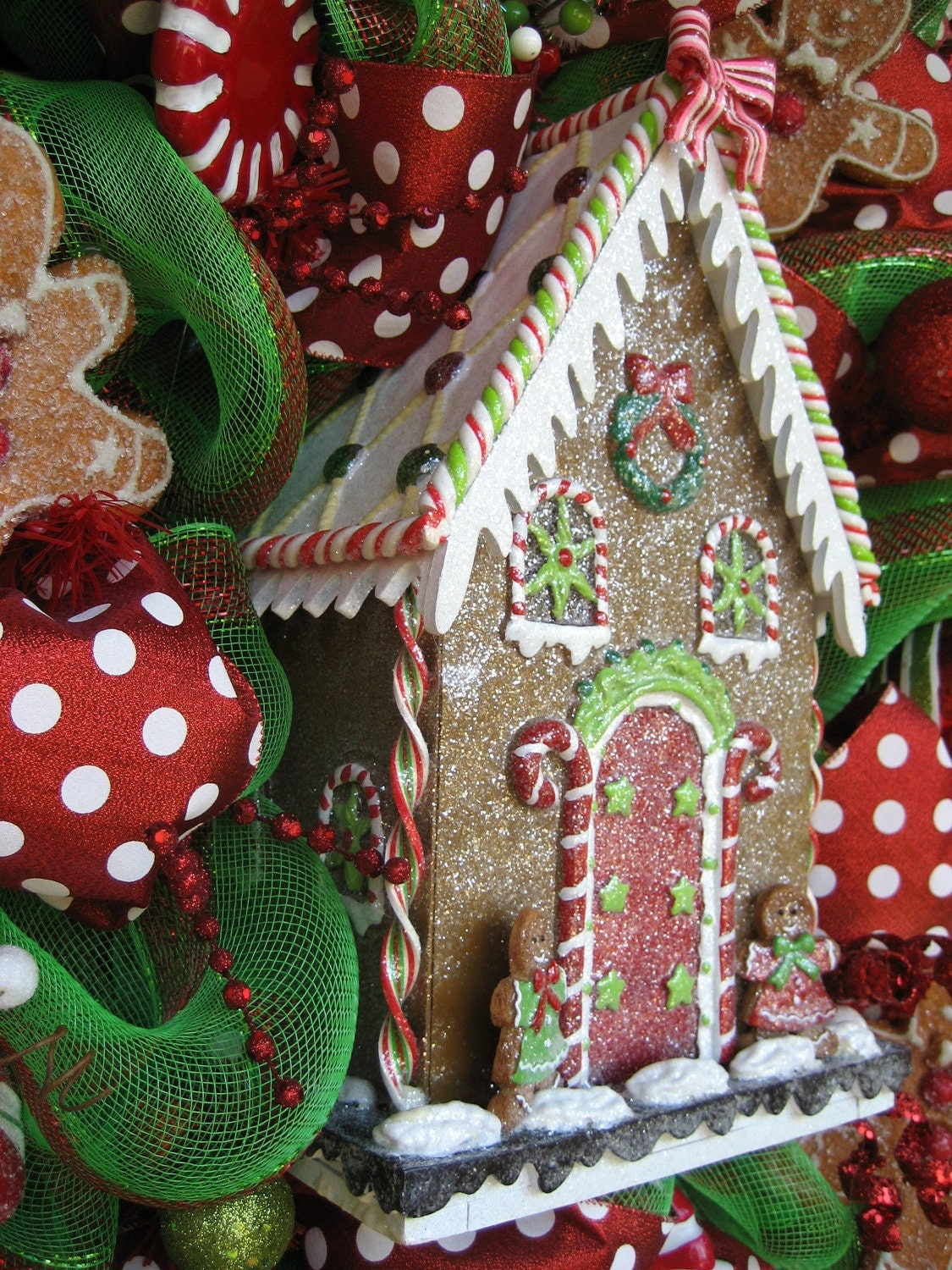 34 Deco Mesh GINGERBREAD HOUSE CHRISTMAS Wreath