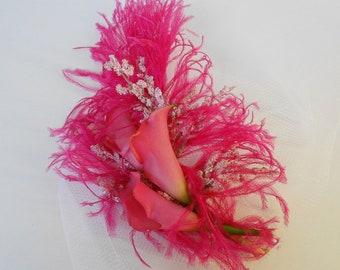 Hot Pink Bridal Fascinator-Birdcage Bridal Fascinator-Blusher Bridal Fascinator-Pink Calla lily Bridal Accesories-Ostrich Plume Headpiece