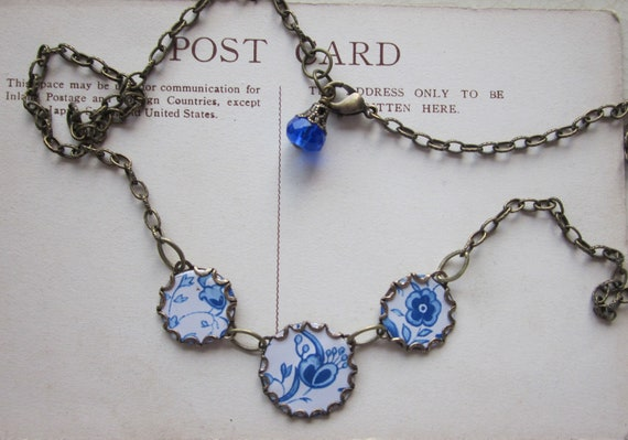 """Tin Jewelry Necklace """"Blue on White"""" Tin for the Ten Year Anniversary"""
