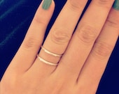 Silver double ring simple parallel ring band sterling silver Estu Jewelry