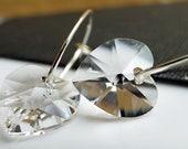 Reduced - Swarovski heart earrings - Last pair - sterling silver handcrafted hoops - Look after my heart - by Twilight Eyes Studio