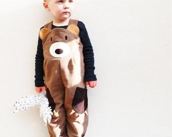 Toddler Boys Bear Dungaree Overalls
