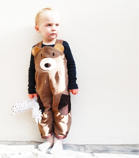 Toddler Boys Bear Dungaree Overalls