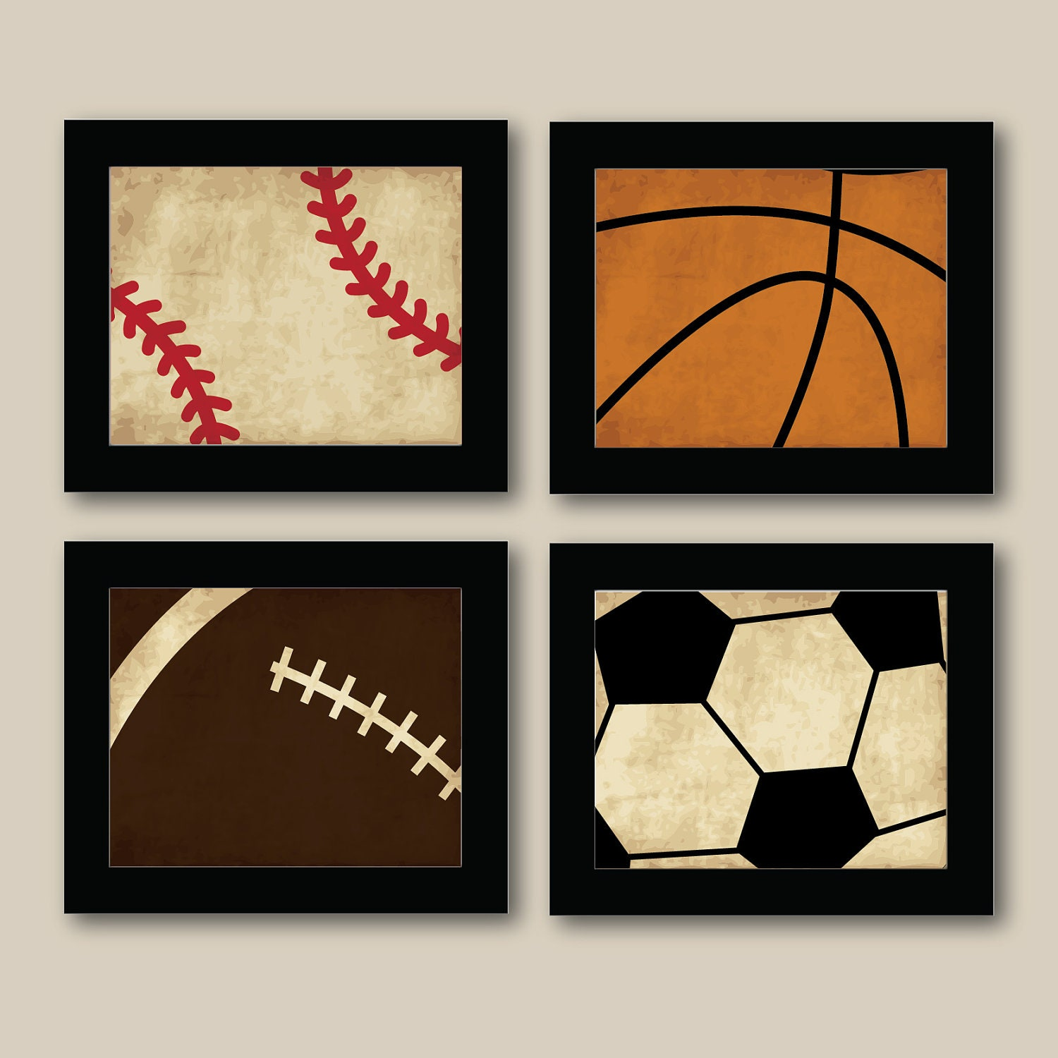 Set Of 4 Vintage Sports Prints Baseball Football By