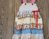 Back to school Girls country handmade cotton dress with lace, ribbon for kindergarden, preschool toddlers up to 8 years old