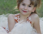 Cream,ivory Rust  vintage damask flower girl dress with detachable train great for fall weddings, photoprop, birthday