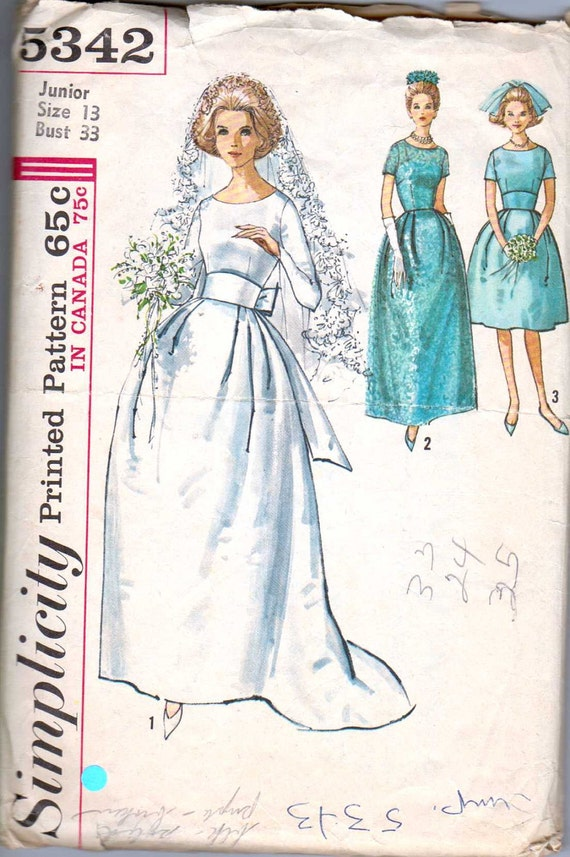 Items similar to vintage 1960s wedding dress pattern for Wedding dress patterns vintage