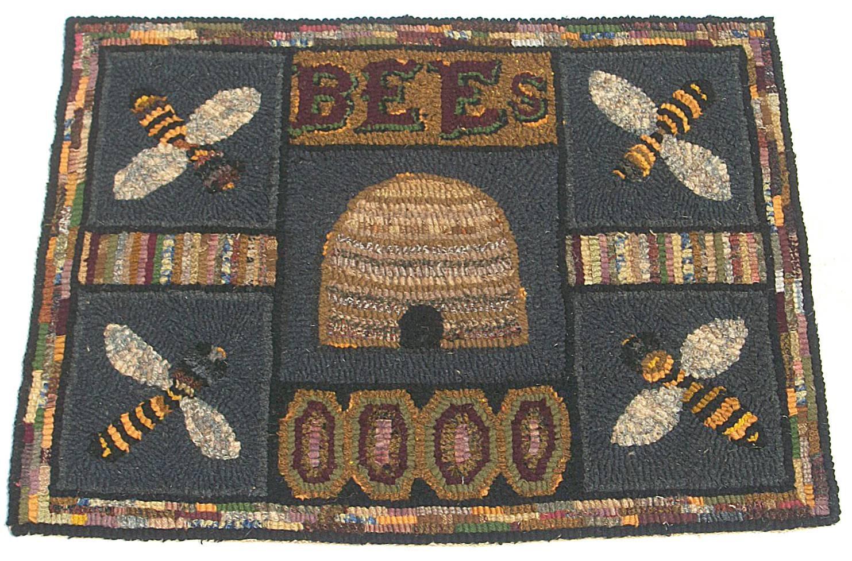 Primitive Hooked Rug Bee Hive Skep Bees
