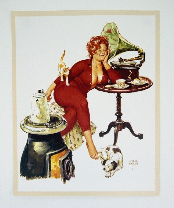 Vintage Calendar Girl Art : Vintage s duane bryers hilda pin up print