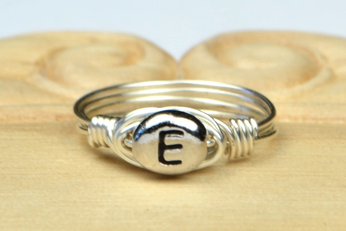 Letter e monogram initial ring sterling silver filled wire for Letter e ring