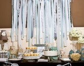 Silver/ Soft Gray/ Light Turquoise/ Seafoam/ White Vintage Fabric Lace Streamer / Backdrop for Wedding/ Baby/ Bridal Shower (HWTM Featured)