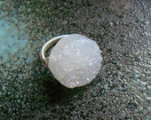 Crystal Quartz Mystic Round Druzy Drusy Ring, Snowfall Texture and Color, Wire Wrapped Silver Wire, Made to Order