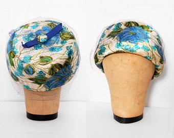 60s Pillbox Hat / Vintage 1960s Brocade Pillbox Hat with Netting and Turquoise Blue Floral Print