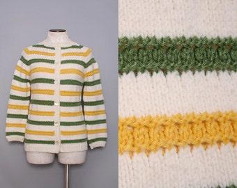 Women's Cardigan Sweater. 60s Handmade Sweater. Green Yellow White Striped Cardigan. Hand Knit Sweater. 1960s Crocheted Sweater Small Medium