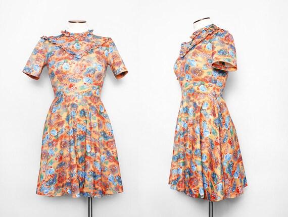 1970s Floral Mini Dress / Vintage 70s Mustard Dress / Small Medium