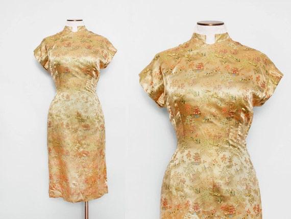 Silk Cheongsam Wiggle Dress Size Medium 1940s Vintage