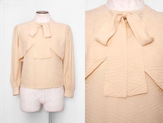 Oleg Cassini Tie Neck Silk Blouse with Geometric Texture Size Small 1980s Vintage