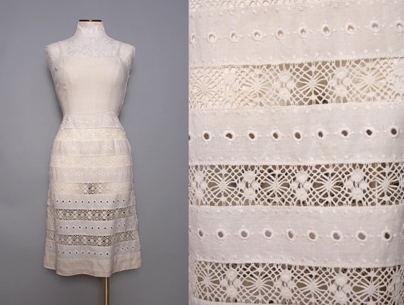 Delicate White Wedding Dress with Sheer Lace Skirt Size Medium 1940s Vintage
