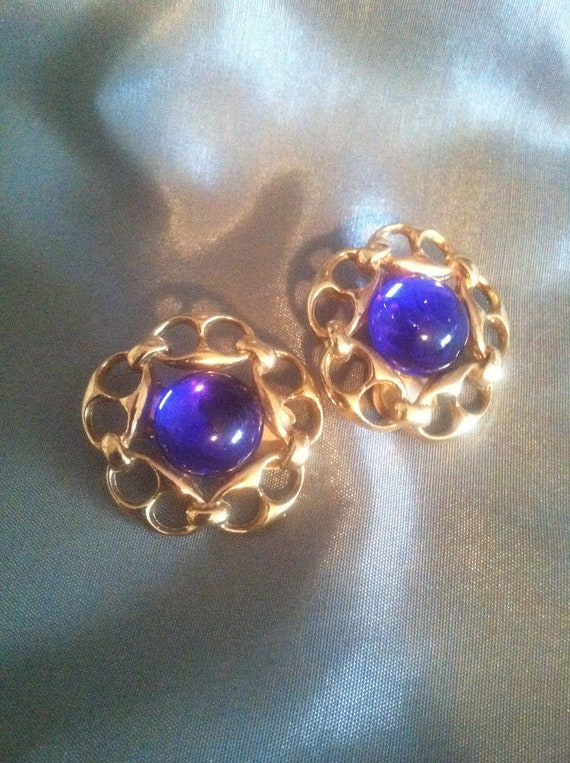 Vintage Signed Paolo Gucci Cobalt Blue and Goldtone Clip Earrings