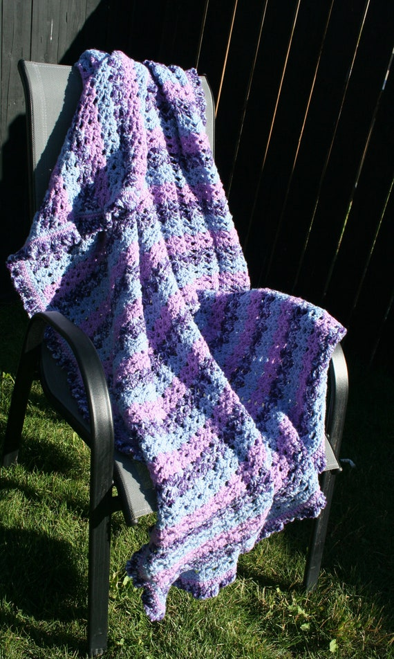SALE Crochet Purple Stripes Fans with a Ruffle Edge Afghan Blanket Throw (was 100) Reserved for Joan Ciulla