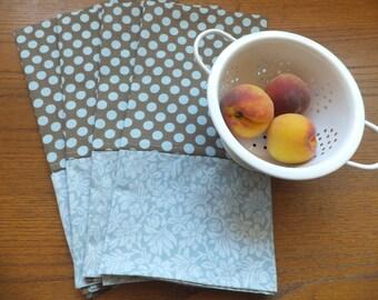4 Blue and Brown Dish Towels, Tea Towels, Blue Wild Crow Farm