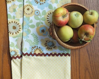 Pastel Yellow Polka Dot and Flower Dish Towels with Brown Rickrack ~ Set of 2