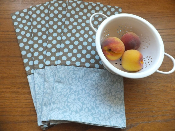 4 Blue and Brown Dish Towels, Tea Towels, Blue Wild Crow Farm