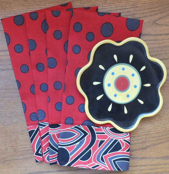 2 Red Tea Towels, Dish Towels, Industrial Gray Red and Black, Modern Kitchen