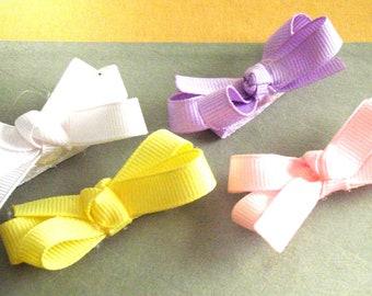 Pastel VELCRO®  Hair Bow Set (4 bows) - Girls Infant VELCRO® Hair Bow Set ( 4 bows)