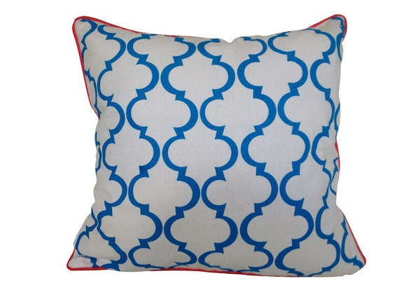 Cushion cover Geometric design. Bright blue design on White Linen/Cotton with hot pink piping 45cm x 45cm