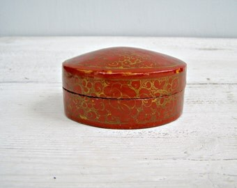 Vintage Trinket Box  lacquered, Small Jewelry Box, Ox blood Gold Oval trinket, Asian Red Boho Vanity Desk Decor, Gift for woman