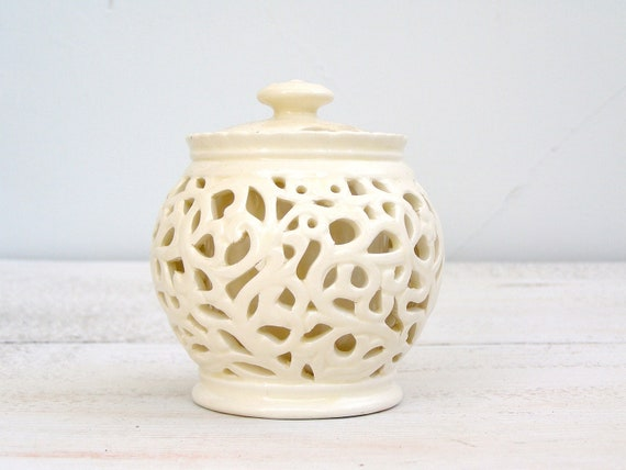 Vintage Ceramic Jam Jar, off white, Sugar Jar, Shabby chic, Beige Filigree, Tea party, French cottage, Christmas, housewarming, wedding gift