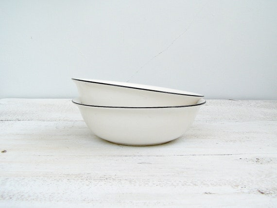 Vintage White bowls,minimalistic black line edge, shabby chic  tableware, Salad bowls, serving bowls, retro kitchenware, winter