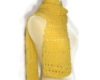 Honey Gold Lacy Scarf Hand Knitted Ultra Soft