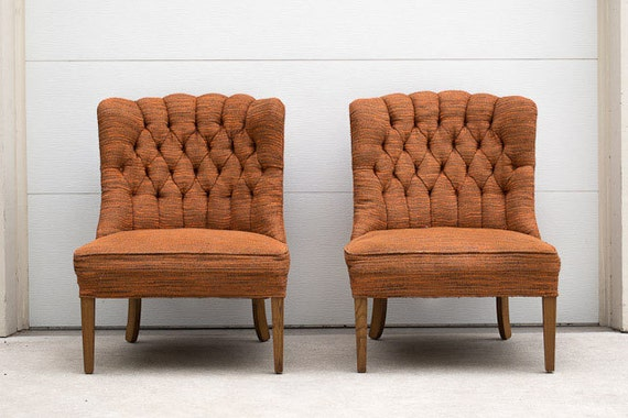 Pair of Vintage Mid Century Tufted Orange Tweed Chairs
