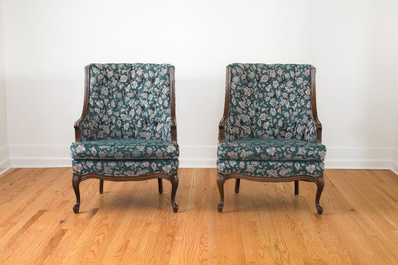 Sale pair of vintage tufted teal and white by homesteadseattle for Teal chairs for sale