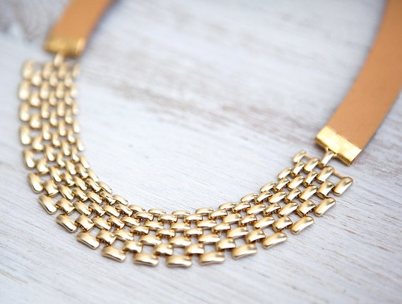 Mixed Leather Cord and Modern gold plated Chain Necklace  by pardes israel