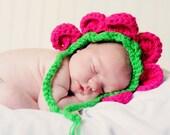 Baby Flower Bonnet Hat Newborn Photo Prop - flower petal hat - Crochet Bonnet Hat - Flower Baby  Hat Crochet Petal