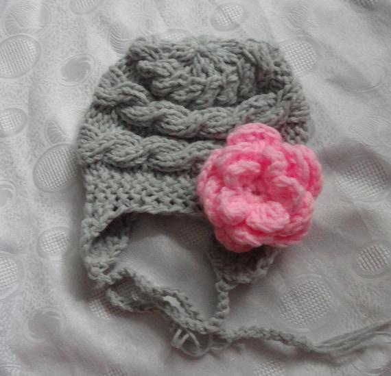 Kids Hat, Baby Girl Hat Newborn Hat Photo Prop, Baby Knit Hat Girl winter Hat,  Earflap Baby Hat,  Baby Girl Hat, Baby Girl Newborn Hat,