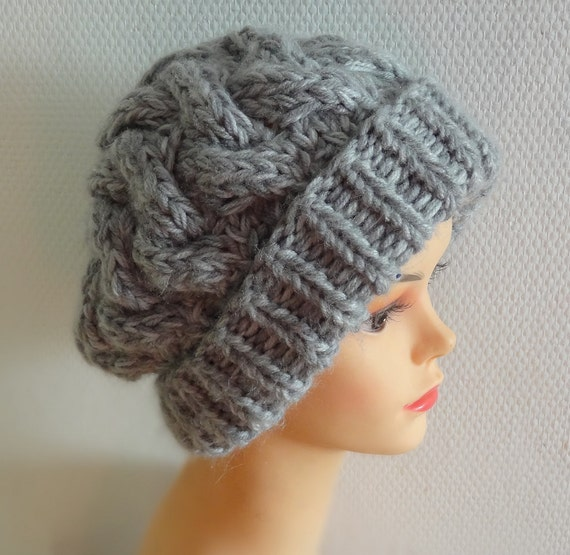 women slouchy beanie hat - warm thick hat Large men women hat - chunky hat - Chunky Knit Winter Fall Accessories / Slouchy Knit Cable hat