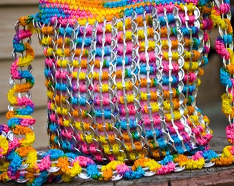 Rainbow Upcycled Crochet Pop Tab Side Bag