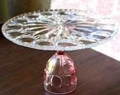 Pink Cake Stand / Glass Cake Stand / Cake Plate Pedestal / Pink Wedding Cupcake Stand / Vintage Crystal Cake Stand for Vintage Weddings